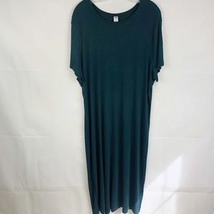 Old Navy | Dark Green Ribbed Maxi Dress Plus Size